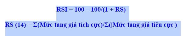 Công thức tính toán chỉ số RSI trong trade coin