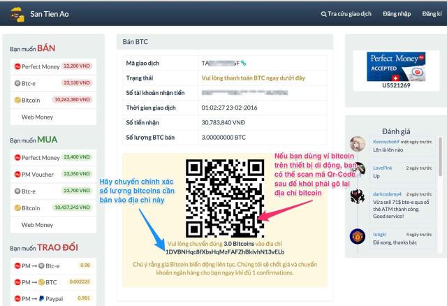 Chuyển Bitcoin bạn đang có tới ví Santienao
