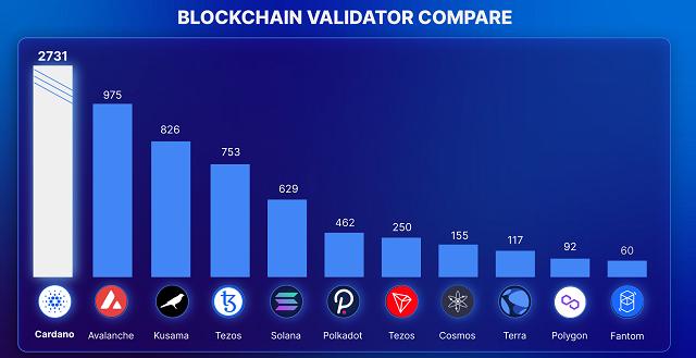 So những blockchain platform trên thị trường thì Cardano hiện có lượng Validator lớn nhất